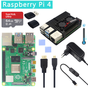 Original Official Raspberry Pi 4 Model B Kits Dual Fan Aluminum Case + 32/64 GB SD Card + Power Adapter + HDMI Cable for RPI 4(China)