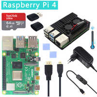Original oficial Raspberry Pi 4 Modelo B Kits doble ventilador caja de aluminio + tarjeta SD de 32/64 GB + adaptador de corriente + Cable HDMI para RPI 4