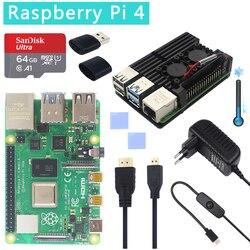 Original oficial raspberry pi 4 modelo b kit duplo ventilador de alumínio caso + 32 gb cartão sd interruptor adaptador alimentação micro hdmi para rpi 4