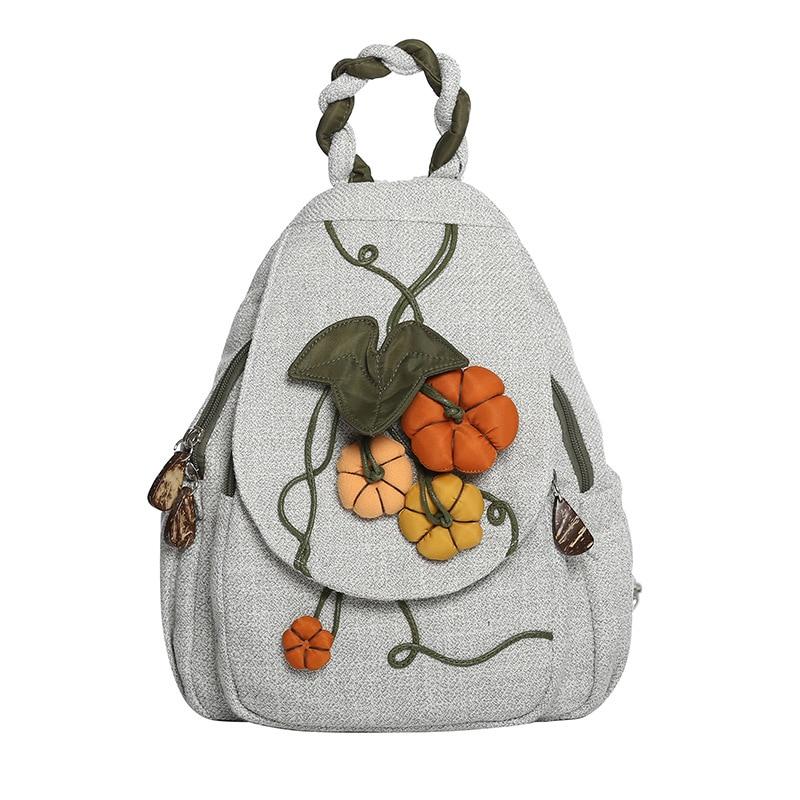 4PCS / LOT National Style Canvas Backpack Women Handmade Simple Small Bagpack Female Travel Rucksack Mochilas