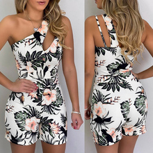 цена на Fashion Sexy Sleeveless Floral Printed One Shoulder Hollow Out Skinny Women Playsuit Women Romper Sexy Playsuit