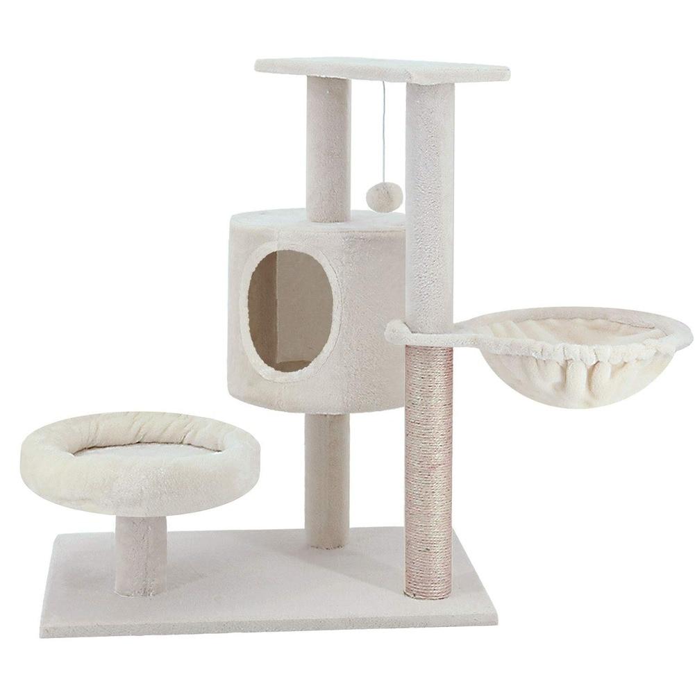 Gatto Albero di Gioco Letto Torre Palestra Bianco Pet Mobili Della Pet Gatto Albero Torre Arrampicata Kitty Mobili Abete di Graffiare - 5