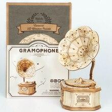 Robotime New Arrival DIY 3D Wooden Gramophone,Pumpkin Cart Model Building Kit Toy Gift for Children Friend