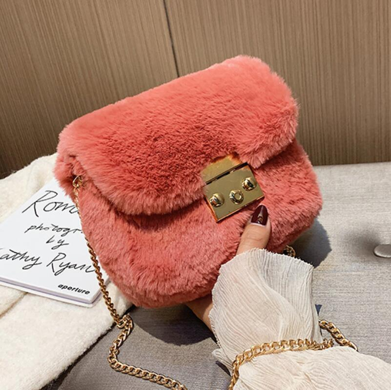 Elegant Female Flip Square Bag 2019 Winter New Quality Soft Plush Women's Designer Handbag Lock Chain Shoulder Messenger Bag