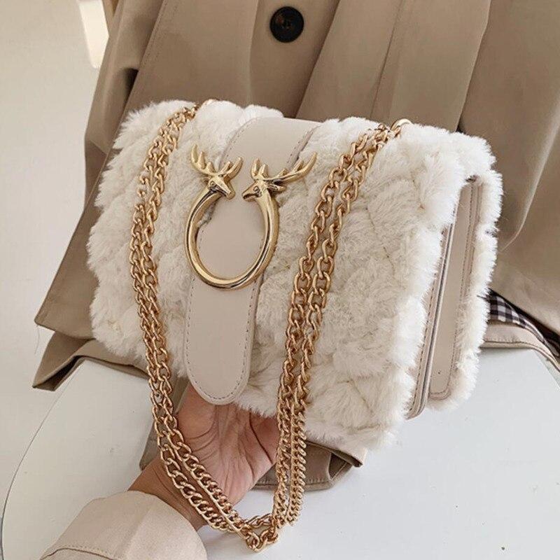 Женская зимняя мягкая плюшевая меховая дизайнерская сумка с цепочкой и оленем|Сумки с ручками| | АлиЭкспресс - Трендовые вещи из сериала «Эмили в Париже»