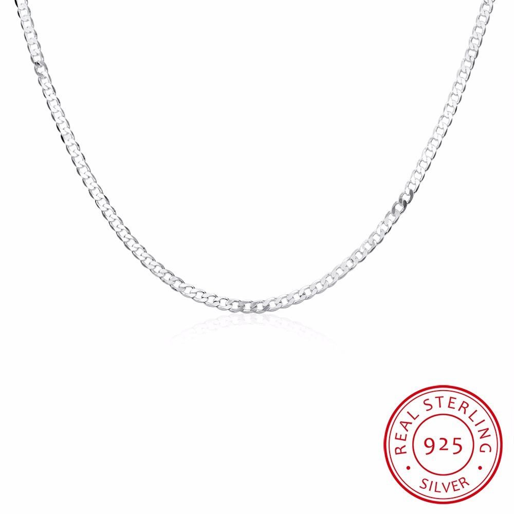 4mm Mens Sideways Necklace Link Chains Necklace,vintage 925 Sterling Silver For Women,30 Inch Simple Geometric Silver Necklace