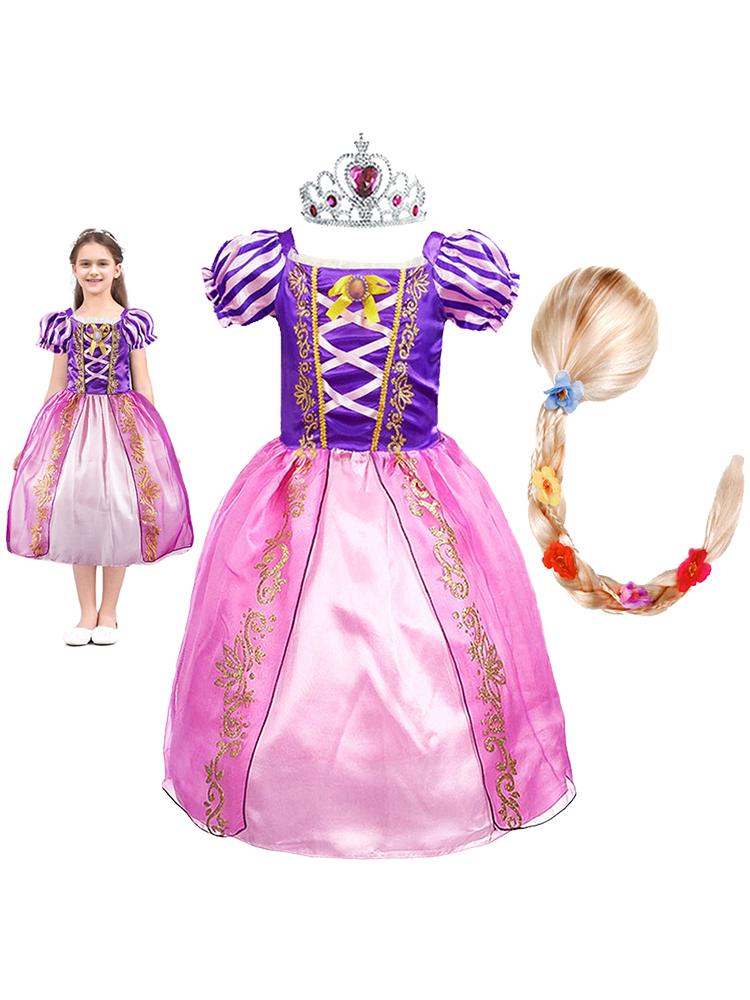 Wig Costume Rapunzel-Dress Flower Party-Clothes Tangled Birthday Carnival Fancy Girls Princess