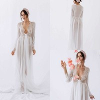 2019 Bridal Sexy Night Robe with Long Sleeves Lace Custom Made V Neck Party Sleepwear Bride Nightgown Robes