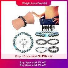 1 шт., магнитный браслет для похудения, браслет для похудения, цепочка на руку для похудения, круглый гематит, магнитный камень, терапия, ювелирные изделия, забота о здоровье