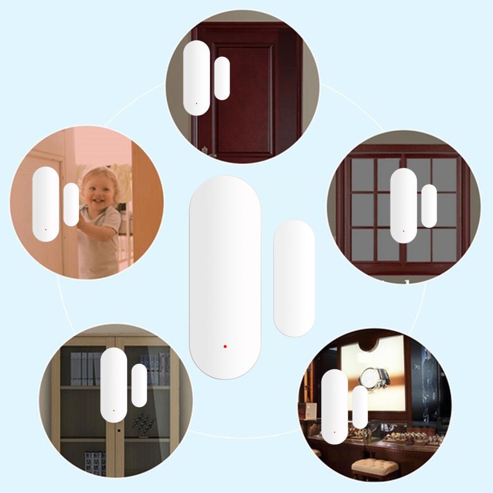 Security Burglar Alarm Door Window Sensor Tuya Plastic Office Home Shop White 1set Smart Door Intrusion Detector Wireless