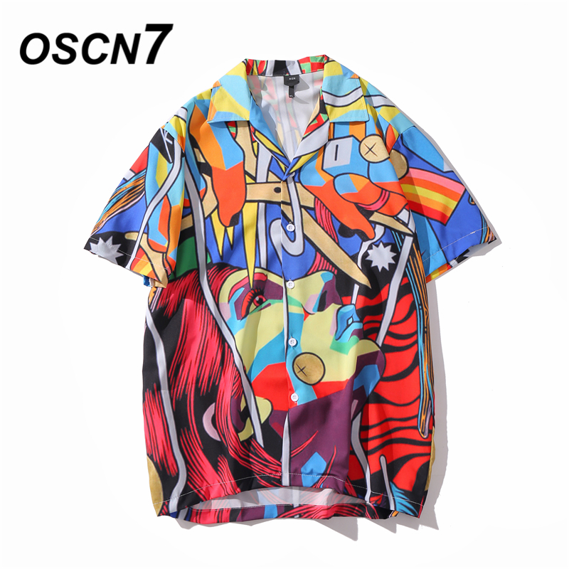 OSCN7 Casual Printed Short Sleeve Shirt Men Street 2020 Hawaii Beach Oversize Women Fashion Harujuku Shirts For Men XQ70