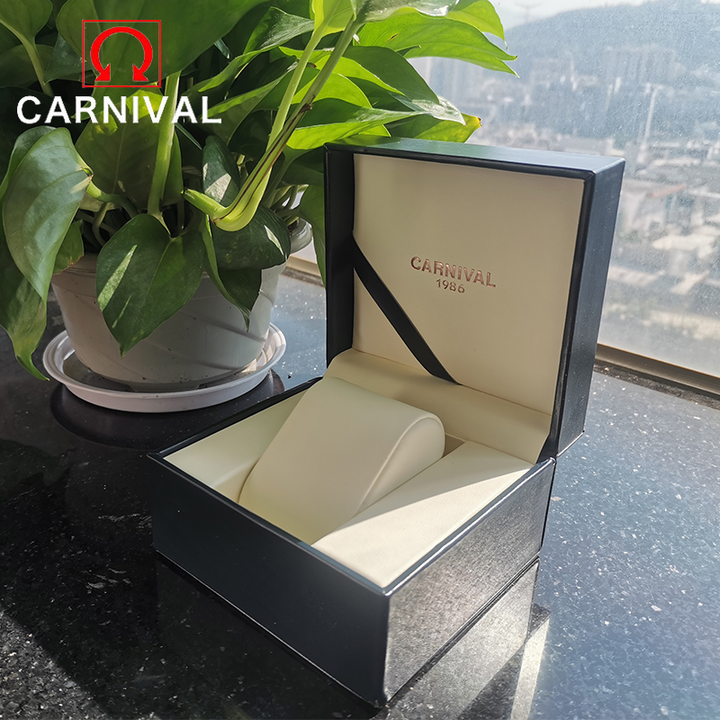 Carnival Original High Quality Leather Watch Box Luxury Brand Watch Accessories Rectangle Watches Display Gift Box For Father