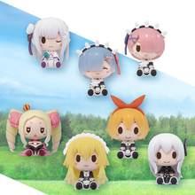 Original bandai bonito mini anime figura re zero começar a vida em outro mundo 7 pçs figura pvc modelo boneca brinquedos