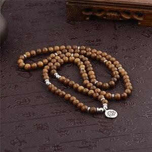 Image 2 - Pulseira de contas de yoga 108, unissex, de madeira de sândalo, budista, oração, contas de lotus, colar, rosário