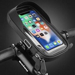 Untoom à prova dwaterproof água bicicleta telefone montar saco caso motocicleta guiador suporte do telefone para 4.5-6.4 Polegada telefones celulares móveis