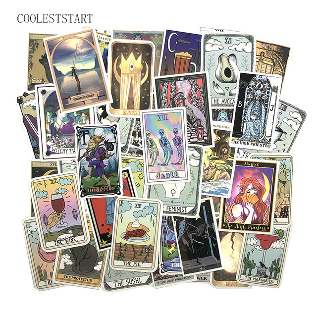 10/50/60Pcs Tarot Card Graffiti Stickers Divination Stickers For Luggage Laptop Refrigerator Motorcycle Skateboard Pegatinas