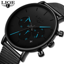 LIGE New Fashion Watch Men Waterproof Slim Mesh Strap Minimalist Wrist Watch For Men Quartz Sports Watch Clock Relogio Masculino(China)