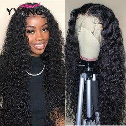 YYong 4x4 парики на шнурках и 13х6 парик на шнурках малазийские человеческие волосы на водной волне Remy парики на фронте шнурка предварительно выщ...