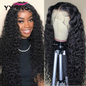 YYong 4x4 Lace Closure Wigs & 13x6 Lace Frontal Wig Malaysian Water Wave Human Hair Remy Lace Front Wigs Pre-Plucked 150 Density(China)