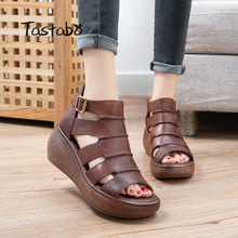 Ladies Sandals Brown Apricot-Color Tastabo Genuine-Leather Beach-Shoes Flat-Set Summer