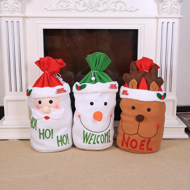 Wyjątkowa dekoracja świąteczna Santa duży worek pończochy duże torby na prezenty boże narodzenie święty mikołaj boże narodzenie prezenty Navidad torby 36x35cm