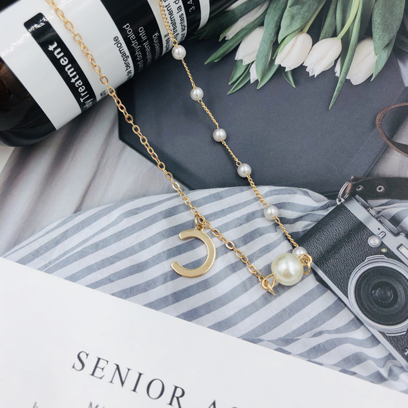 Hot selling letter C women 39 s necklace pearl chain creative fashion delicate love holiday birthday gift in Chain Necklaces from Jewelry amp Accessories