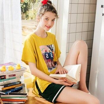 FENTENG Spring Summer Pajamas Set Causal Printed Oneck Loose Tshirt Solid Elastic Waist Shorts Pajamas For Women  X98021481