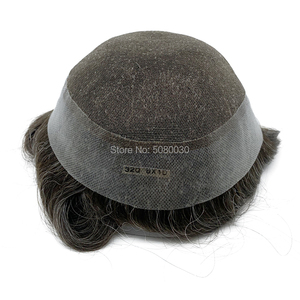 Image 2 - חדש בסיס עיצוב מניית רמי שיער פאה תחרה סביב pu גברים פאה