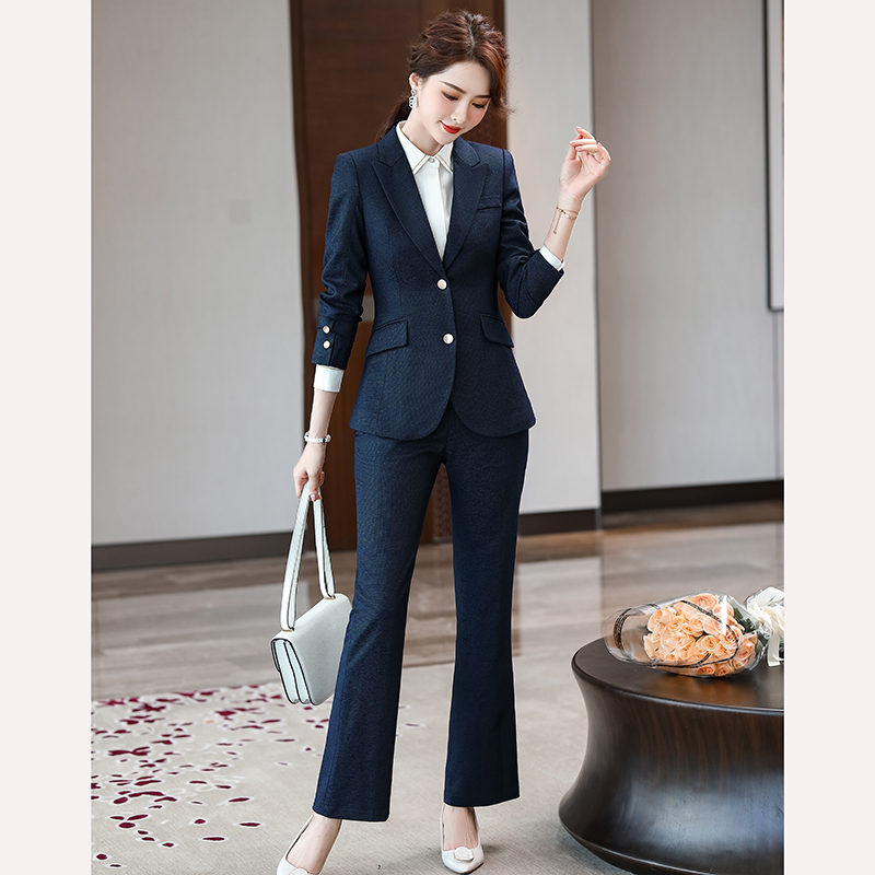Women Blazer Pant Suit 2 pieces Set High Quality With Stretch color Black Pink Dark Blue Office Manager Work Wear for Ladies