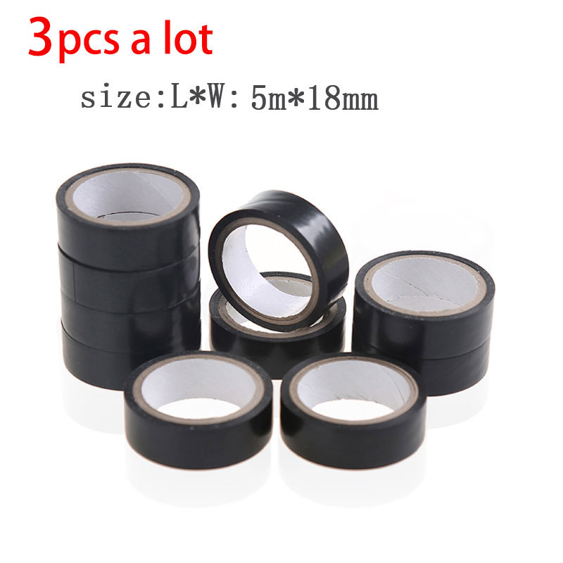 3pcs/vanzlife Viscosity PVC Electrical Tape Insulation Wire Waterproof And Cold Resistant Black Electrical Glue Adhesive Tape
