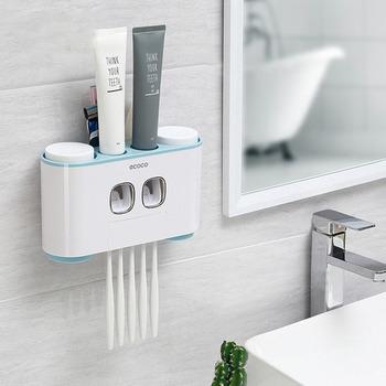 Naścienny automatyczny dozownik pasty do zębów 4 uchwyt na szczoteczki do zębów zestaw do mycia łazienki pasta do zębów wyciskacz przechowywanie szczoteczki do zębów tanie i dobre opinie CN (pochodzenie)