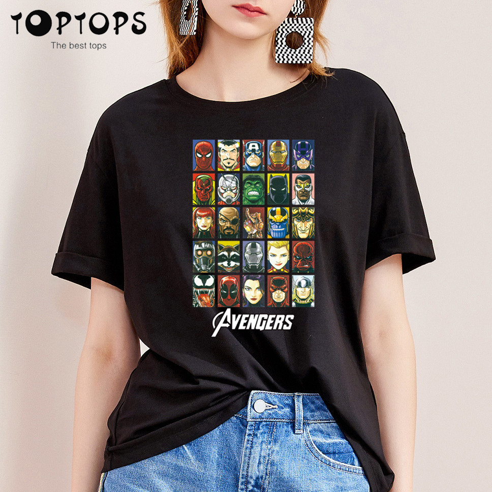 Women Marvel Funny Cotton T Shirt Unisex Skateboard Christmas Tshirt Female Girl Clothes Streewear Shirt