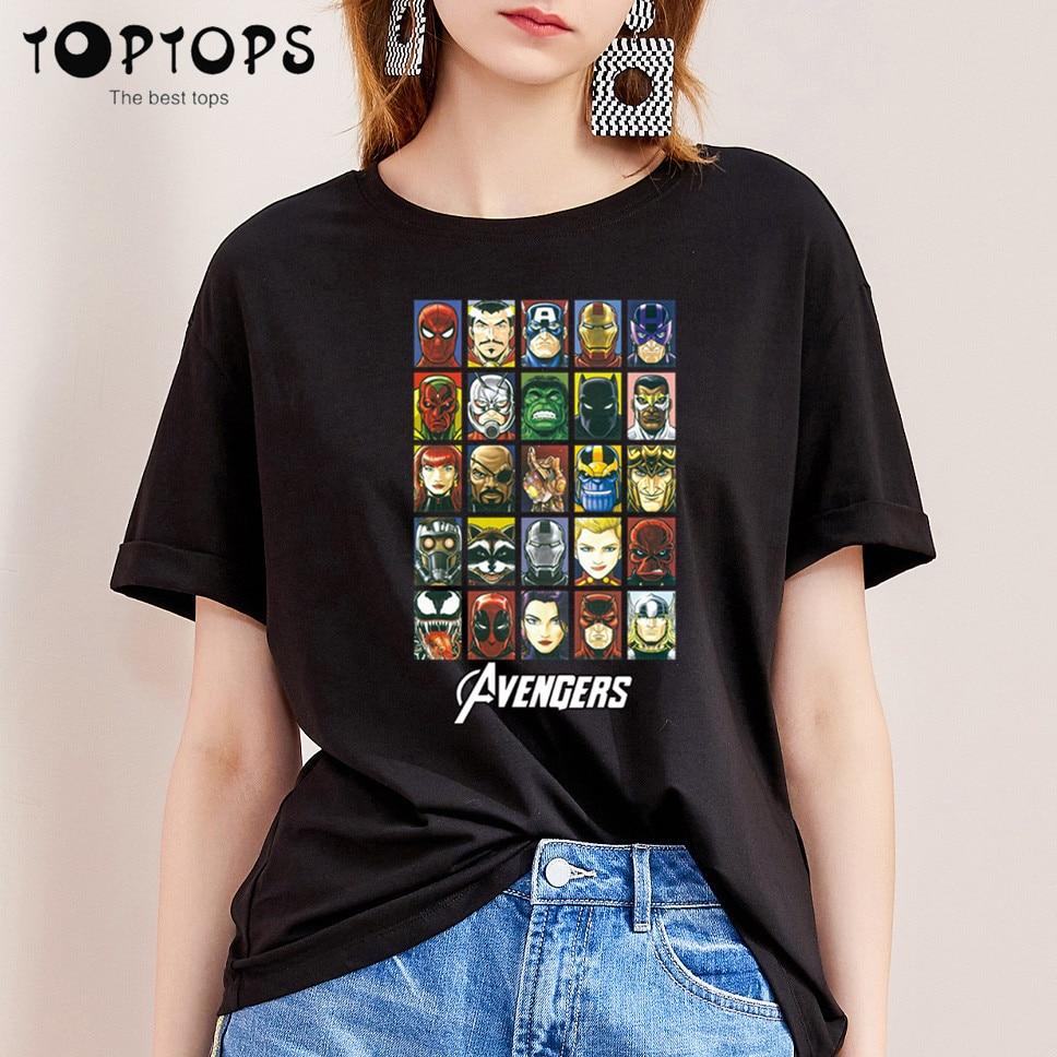 Women Marvel Funny Cotton T Shirt Unisex Skateboard Christmas Tshirt Female Girl Clothes Streewear Shirt