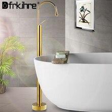 浴槽の蛇口フロアハンドヘルドシャワーバスルームシングルハンドル混合栓回転スパウト風呂mixerstandingホット & コールド風呂のシャワー