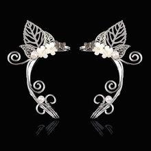 1 Pc Chic Elf Ear Cuff Pearl wydrążony kwiat liść Cosplay wróżka kolczyki klipy dla kobiet dziewczyn biżuteria ślubna Earcuff