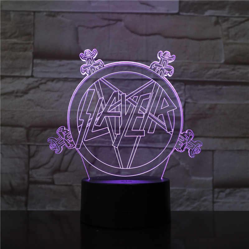 Band Slayer โลโก้ 3D LED Night Light USB TOUCH SENSOR Hoom Room ตกแต่งเด็กเด็ก Nightlight ชุดตารางโคมไฟห้องนอน