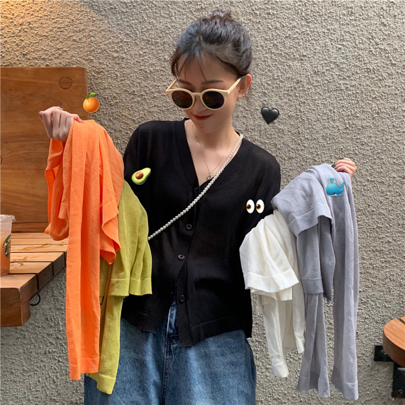 2020 Spring cardigan women v-neck knitted sweater Buttons Cropped Thin Short Sunscree Coat Casual Long Sleeve Jumper Top