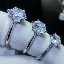Женское свадебное кольцо из натурального моиссанита 6 Зубцов