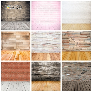 Laeacco Brick Wall Wooden Floor Photocall Photography Backgrounds Photographic Backdrops Vintage Portrait Food For Photo Studio laeacco photography backdrops vintage gray white wall wedding party baby portrait photo backgrounds photocall photo studio