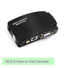 Видео из AV в VGA конвертер адаптер RCA VGA конвертер портативных ПК видео ТВ RCA композитный s-видео AV в к ПК VGA ЖК-дисплей конвертер Распределительная коробка черный