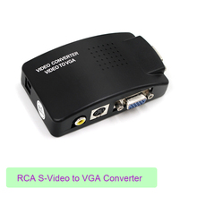 цена на Wholesale PC Laptop Composite Video TV RCA Composite S-Video AV In To PC VGA LCD Out Converter Adapter Switch Box Black