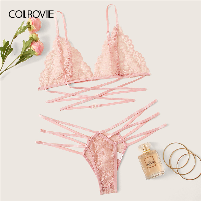 COLROVIE Pink Floral Lace Ladder Cut-out Lingerie Set Women Intimates 2019 Bralettes And Thongs Sexy Sets Ladies Underwear Set