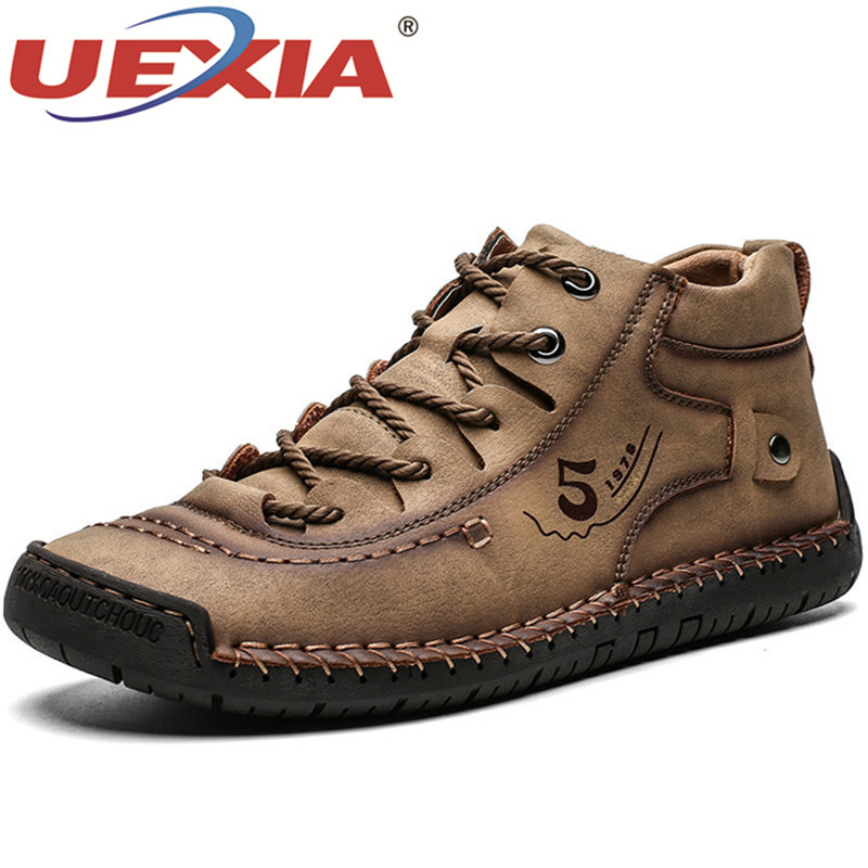 UEXIA New Handmade Outdoor Men Boots High Quality Split Leather Ankle Snow Shoes Warm Fur Plush Lace-Up Winter Plus Size 38~48