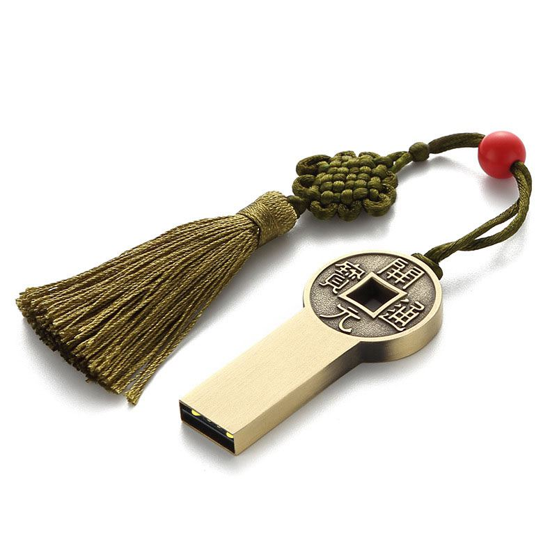 Usb Drive Chinese Ancient Coin Flash Memory Stick U Disk Gifts Thumb Drive Cool Metal Flash Drive Keychain Memory Stick