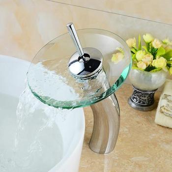 Mushroom-shaped long neck Glass bathroom waterfall Faucet.Transparent vessel water faucet.bathroom basin sink Mixer Tap 1