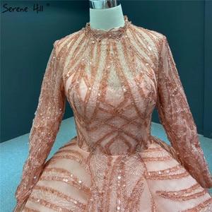 Image 5 - Moslim Oranje Hoge Kraag Lovertjes Avondjurken 2020 Lange Mouwen Sparkle Luxe Bruidsjurken HA2293 Custom Made