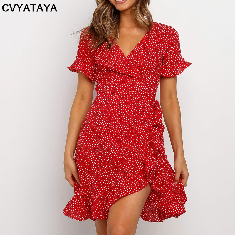 Rot Sexy V-ausschnitt Floral Print Selbst Krawatte Wrap Kleid Mini Kleid Frauen Boho Rüschen Saum Flare Hülse Sommer Mini kleider Vestidos 2