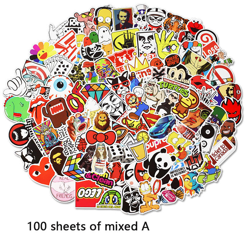 100 Pcs/pack Stickers Classic Fashion Style Graffiti Stickers Car Suitcase Cool Laptop Cartoon Anime Skateboard Sticker