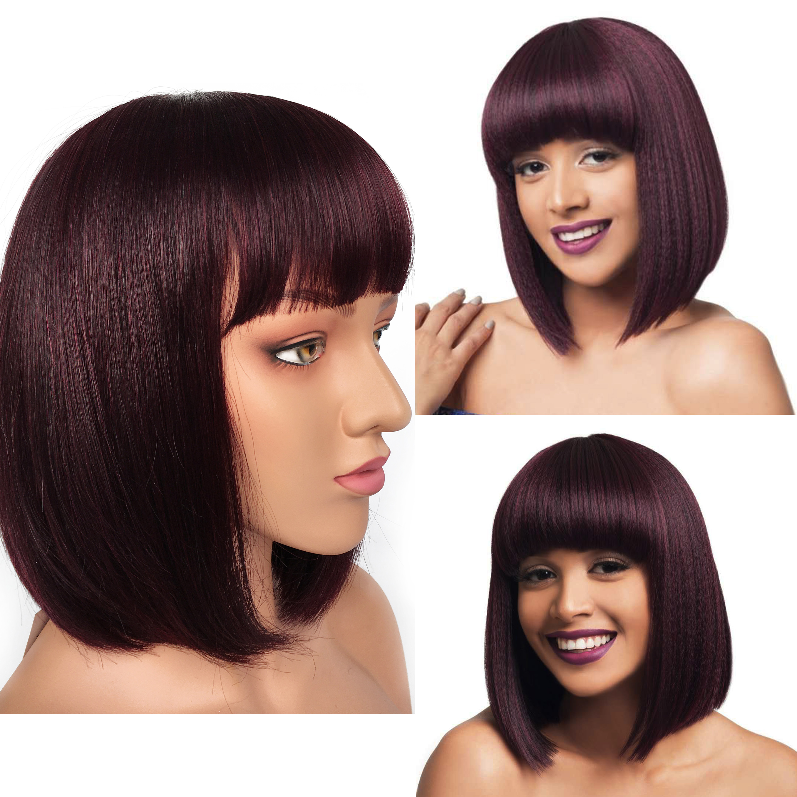 Human Hair Wigs Straight Wave Bob Wig Remy Brazilian Short Human Hair Wigs 99J Color Wigbow