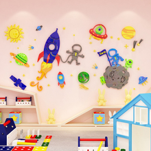 Creative cartoon spaceship DIY Children's room bedroom home living room TV background wall decoration 3D acrylic wall stickers creative ins cartoon car diy children s room bedroom home living room tv background wall decoration 3d acrylic wall stickers